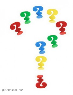Question Marks on Isolated White Background