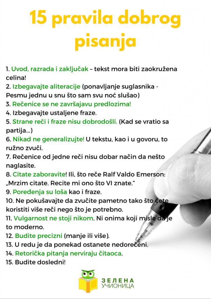 pravila pisanja
