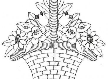 Корпа са цвећем – бојанка