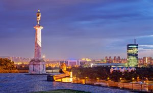 Belgrade fortress and Victor monument at night Belgrade Serbia ** Note: Soft Focus at 100%, best at smaller sizes