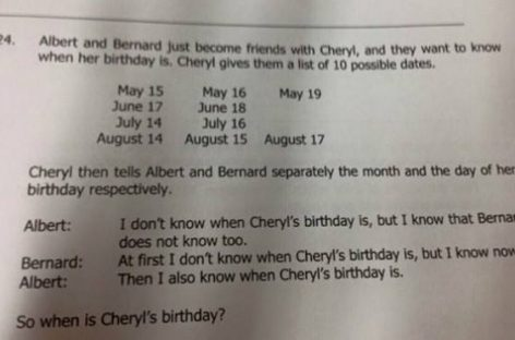 Шерилин рођендан – сингапурски задатак који је многе збунио