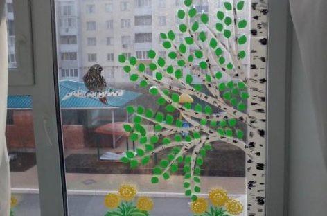Пролећно украшавање прозора  – ШАБЛОН
