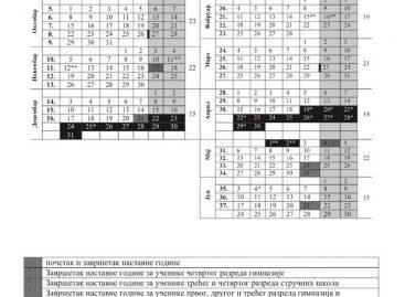 Школски календар за 2018/2019. годину (Централна Србија и Војводина)