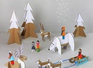 Kreativne ideje: Zima od kartona (ŠABLON)